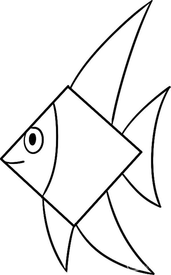 趣味简笔画:漂亮的热带鱼绘画步骤(4)
