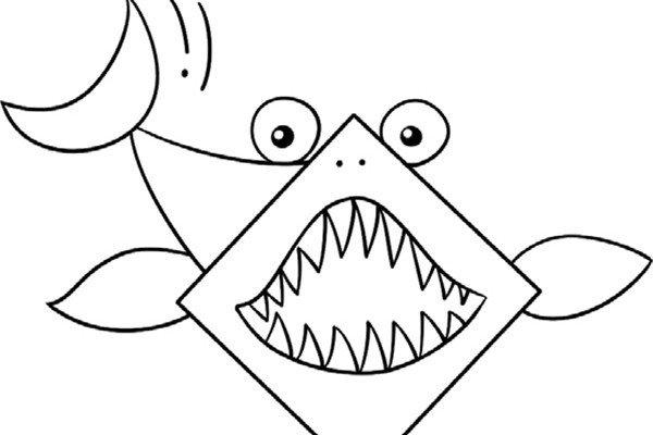 趣味简笔画:凶猛的大白鲨的绘画步骤