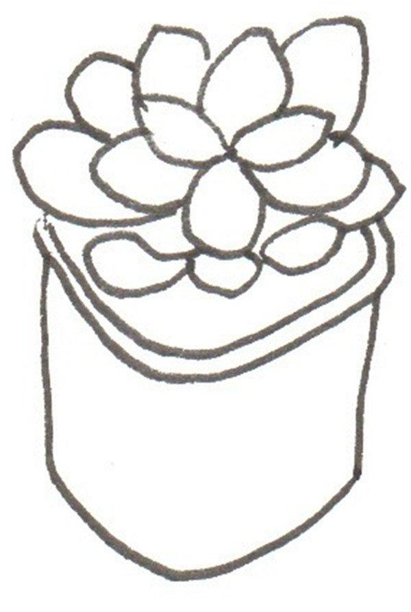 卡通画桃美人的绘画步骤三                      ③画出花盆.