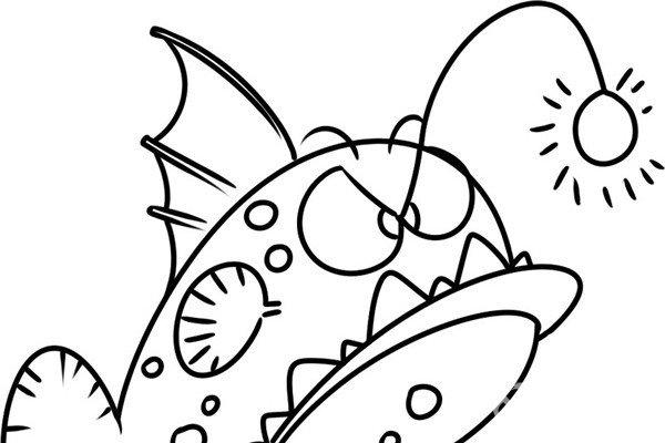 趣味简笔画:凶狠的双灯灯笼鱼