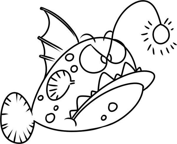 趣味简笔画:凶狠的双灯灯笼鱼(4)图片