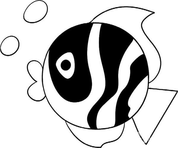 趣味简笔画:可爱的小鱼绘画步骤(4)