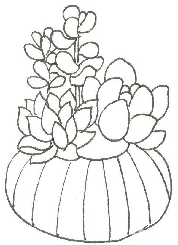 画多肉的绘画步骤二(3)                      ⑤画一个圆圆的花盆.