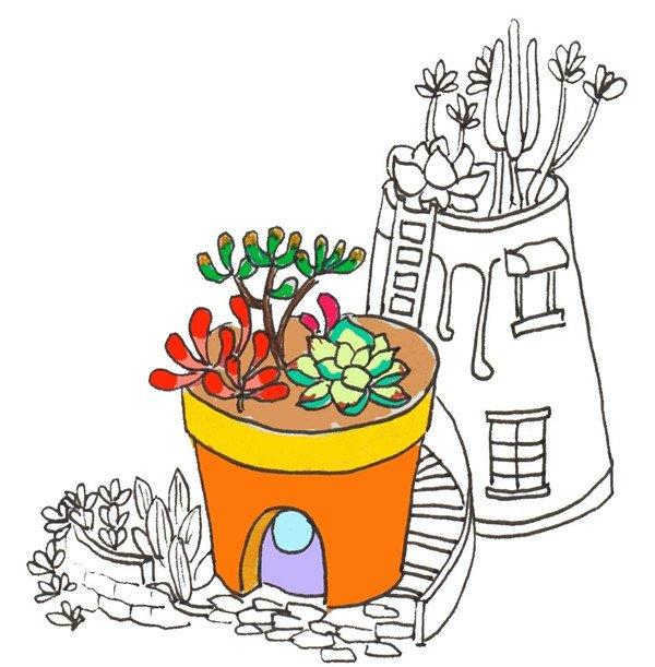 卡通画多肉的绘画步骤七 ⑧给第二个花盆涂上浅绿色,再给第二个花盆