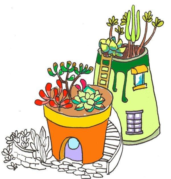 卡通画:多肉的绘画步骤(4)_儿童画教程_学画画_我爱