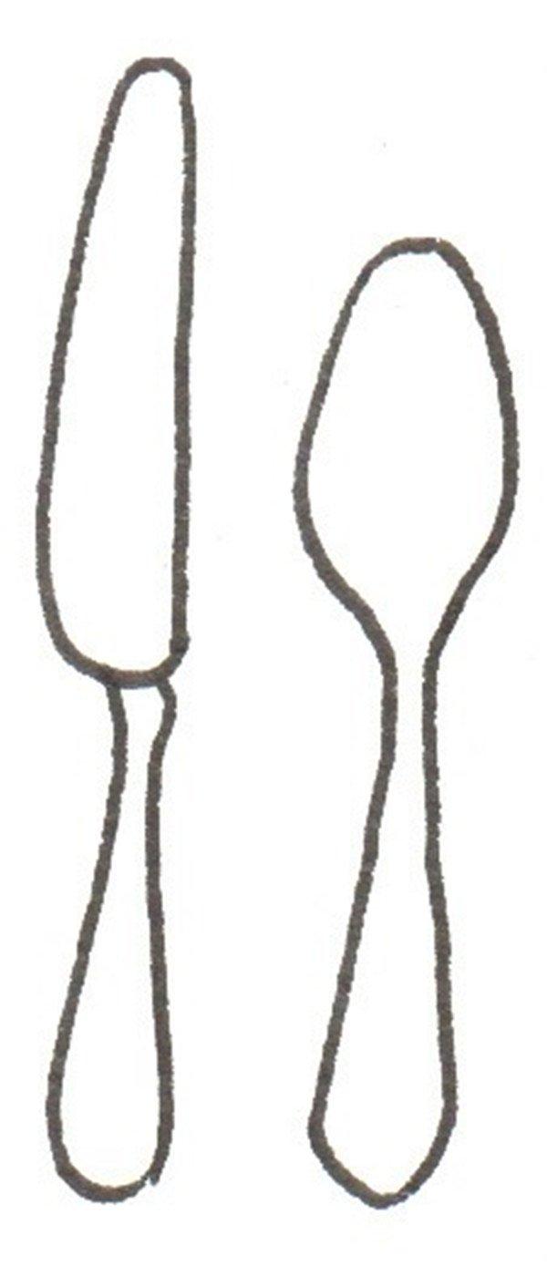 > 卡通画:餐具的绘画步骤(2)                      ②再画一个勺子.