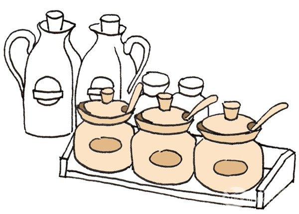 调味罐的绘画步骤六                      ⑤再加上两个高一点的瓶子