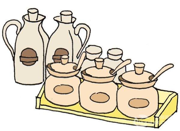 调料瓶手绘黑白图