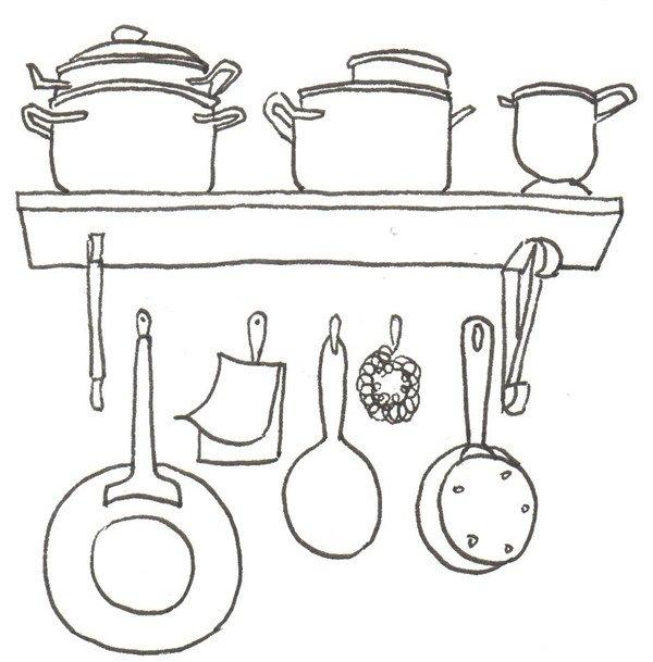 卡通画:厨房一角的绘画步骤(2)
