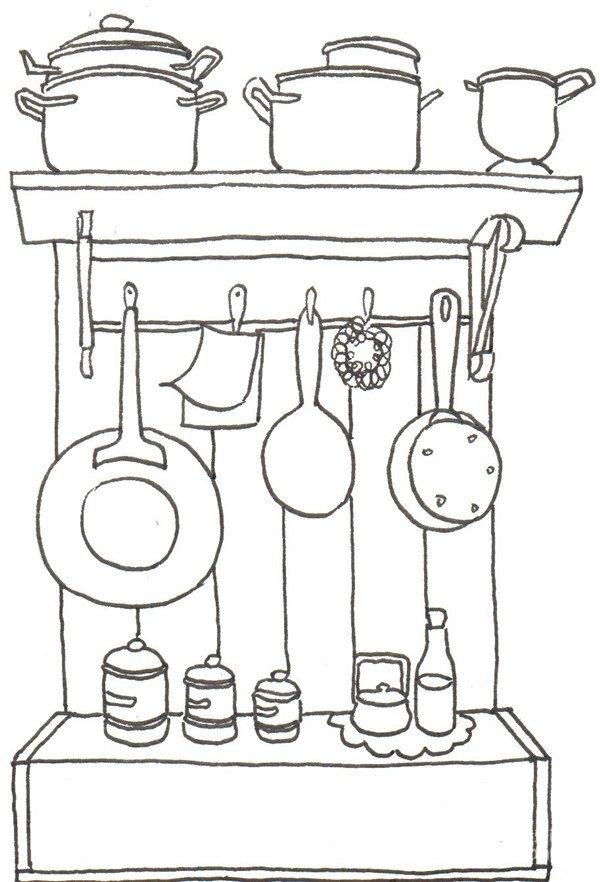 卡通画厨房一角的绘画步骤五 ⑥在柜子里面画三个碗.