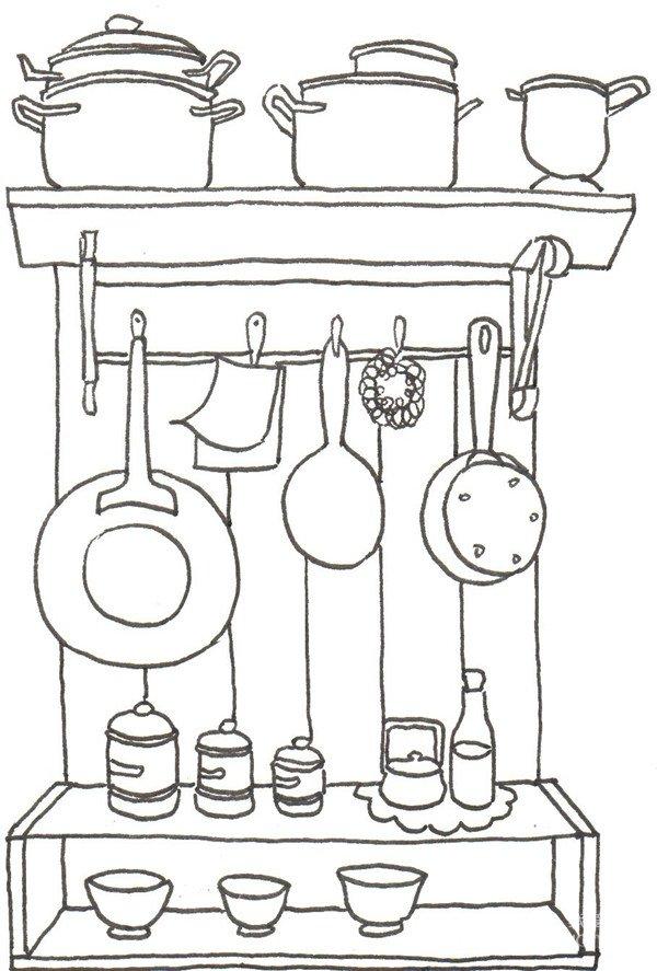 卡通画:厨房一角的绘画步骤(3)