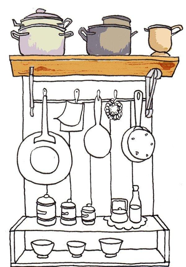 卡通画:厨房一角的绘画步骤(4)_儿童画教程_学画画_我