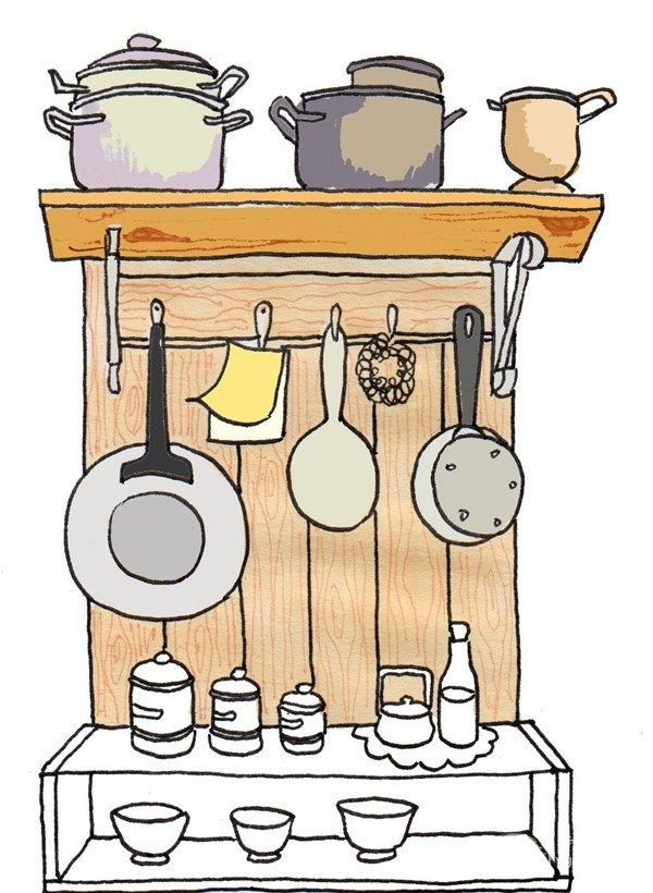 卡通画:厨房一角的绘画步骤(4)