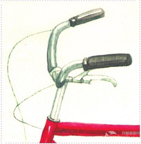 水彩画 自行车