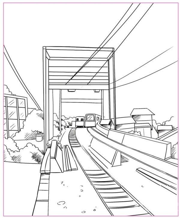 除了繪制房屋,運用透視圖還可以繪制各種不同的場景.