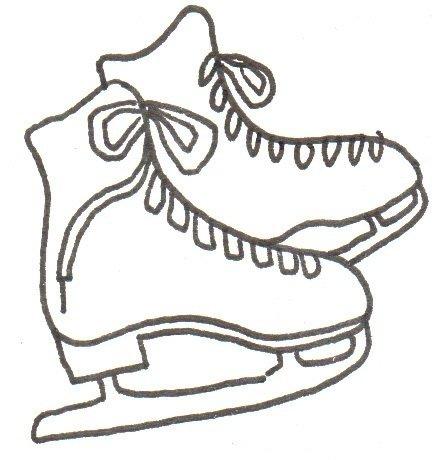 卡通画冰鞋的绘画步骤三                      ③画出第二只鞋子.