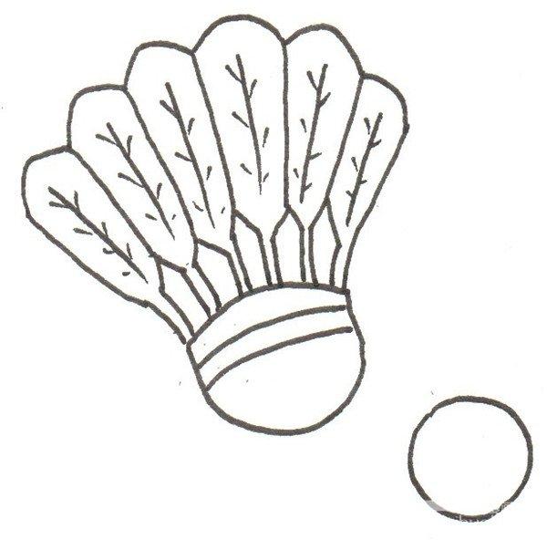 卡通画运动器材的绘画步骤三 ④在底下画出一个乒乓球拍.