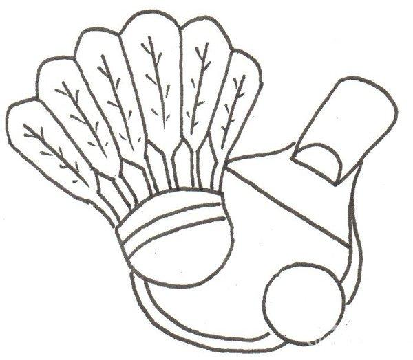 步骤四                      ③给羽毛加上纹路,在右下角画一个圆形.