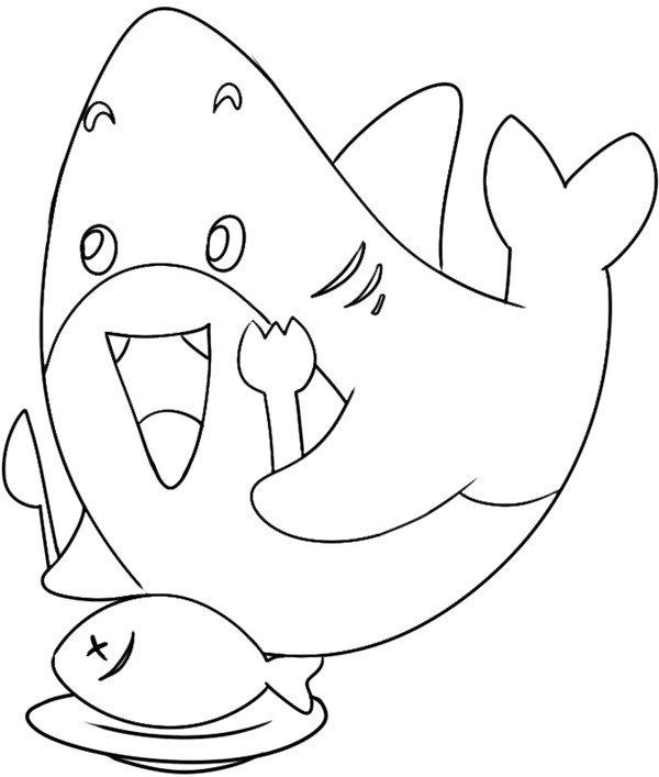 享受美餐的鲨鱼绘画步骤(4)                      4,美味食物在眼前