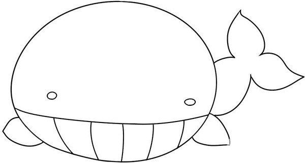 趣味简笔画:潜出水面的鲸鱼绘画步骤(3)