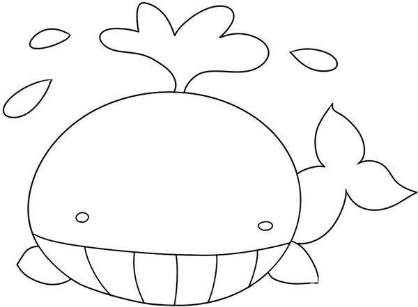 趣味简笔画:潜出水面的鲸鱼绘画步骤(4)