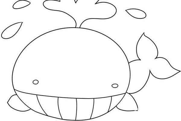 趣味简笔画:潜出水面的鲸鱼绘画步骤