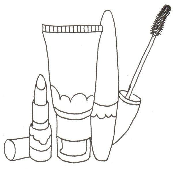 卡通画化妆品套装的绘画步骤(2)