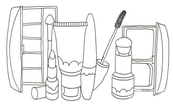品套装的绘画步骤六                    ⑤在左后方画一盒打开的眼影