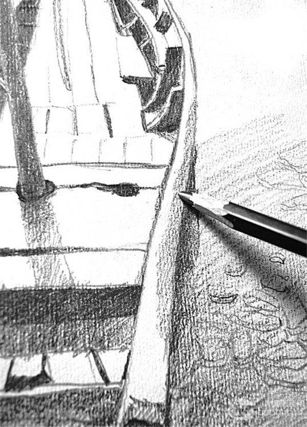 素描:靠岸的绘画步骤(4)
