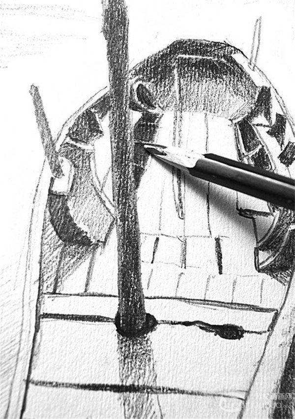 学画画 素描教程 素描风景 > 素描:靠岸的绘画步骤(4)      11,一遍