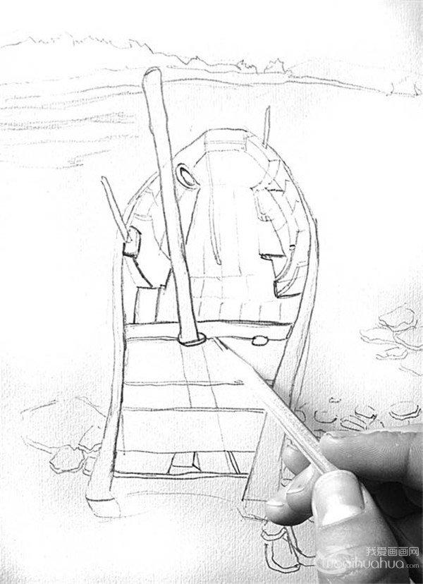 学画画 素描教程 素描风景 > 素描:靠岸的绘画步骤      船舱的明暗