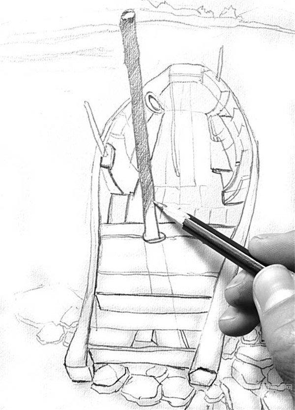 学画画 素描教程 素描风景 > 素描:靠岸的绘画步骤(2)      4,从小船