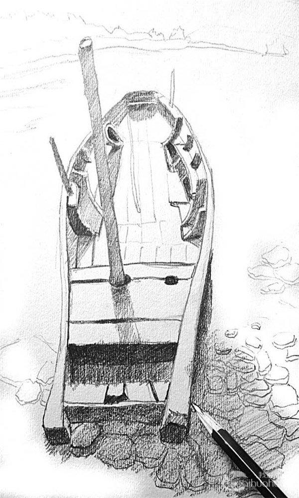 学画画 素描教程 素描风景 > 素描:靠岸的绘画步骤(3)      7,船的