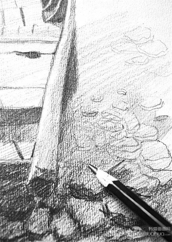 素描:靠岸的绘画步骤(5)