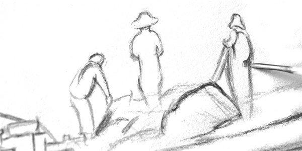 1、用2B铅笔的侧锋勾画船只和捕鱼者的外轮廓。  素描捕鱼的绘画步骤一 2.、用削尖的笔芯按照结构勾画捕鱼船上的装备。  素描捕鱼的绘画步骤二 3、从右边的捕鱼者入手,画出人物的大概比例与结构。  素描捕鱼的绘画步骤三