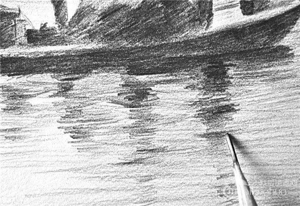 素描 捕鱼者人物倒影