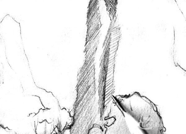 學畫畫 素描教程 素描風景 > 素描:眺望山村的繪畫步驟(4)      12,從