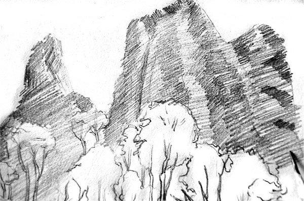 学画画 素描教程 素描风景 > 素描:眺望山村的绘画步骤(4)      12,从