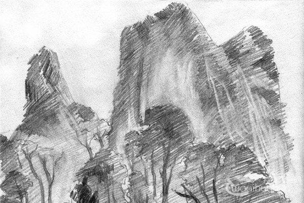 素描:眺望山村的绘画步骤