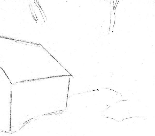 北京画室_素描:后院雪景的绘画步骤