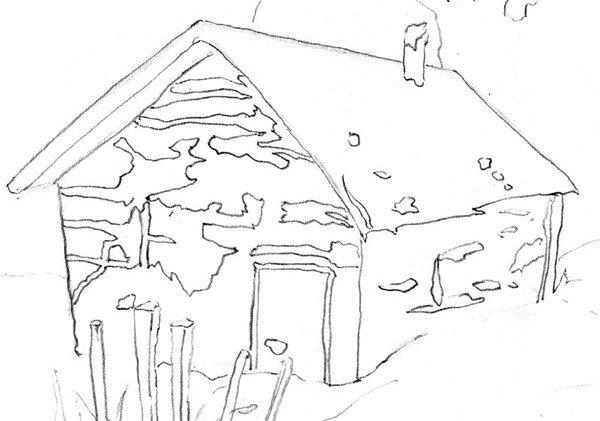 素描:后院雪景的绘画步骤