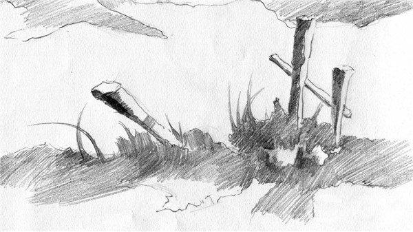 素描:后院雪景的绘画步骤(2)