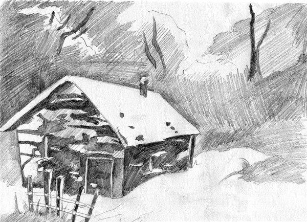 素描:后院雪景的绘画步骤(3)