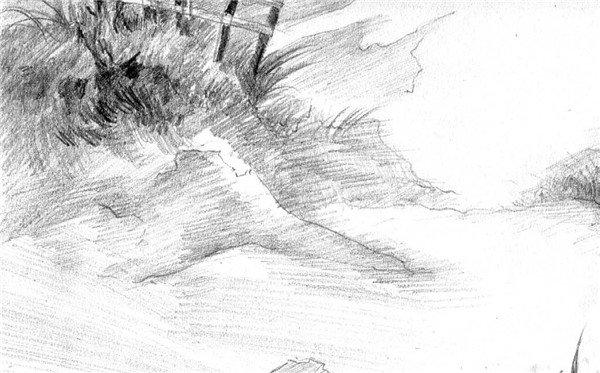 素描:后院雪景的绘画步骤(5)_素描教程_学画画_我爱