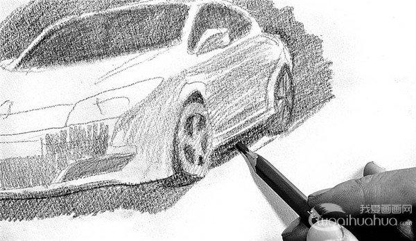 素描:轿车的绘画步骤(3)_素描教程_学画画_我爱画画网