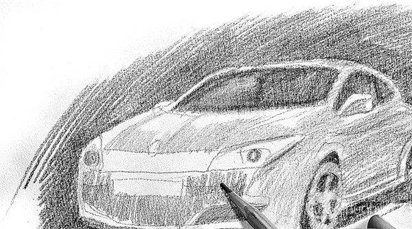 素描:轿车的绘画步骤(3)