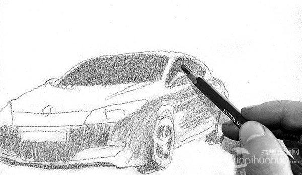 4、轿车玻璃的画法,先画车内深色的背景,与一般的玻璃素描是一样的道理。  素描轿车的绘画步骤4 5、仔细地完善车轮的结构及质感的表现。  素描轿车的绘画步骤5 6、画出汽车的阴影和背景,更好地衬托轿车的造型。  素描轿车的绘画步骤6