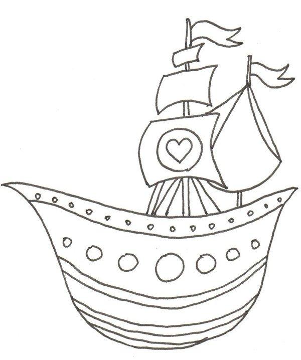 卡通画:船的绘画步骤(2)