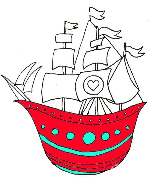 ⑥从船身开始上色。  卡通画船的绘画步骤六 ⑦继续上色,完成。  卡通画船的绘画步骤七 PS:还记不记得当年的Jack 和 Rose呢?坐船是件很浪漫的事哦~