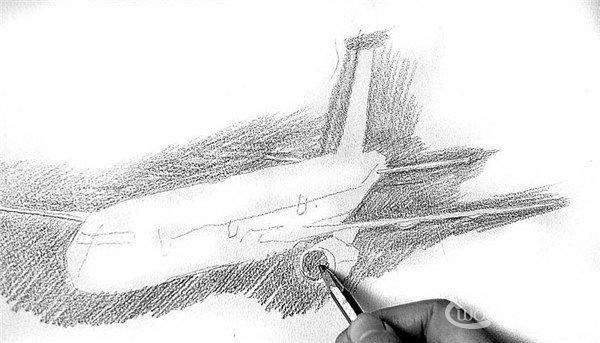 3,为飞机周围的天空(即背景)铺好一遍色调后,从机翼开始画起,注意